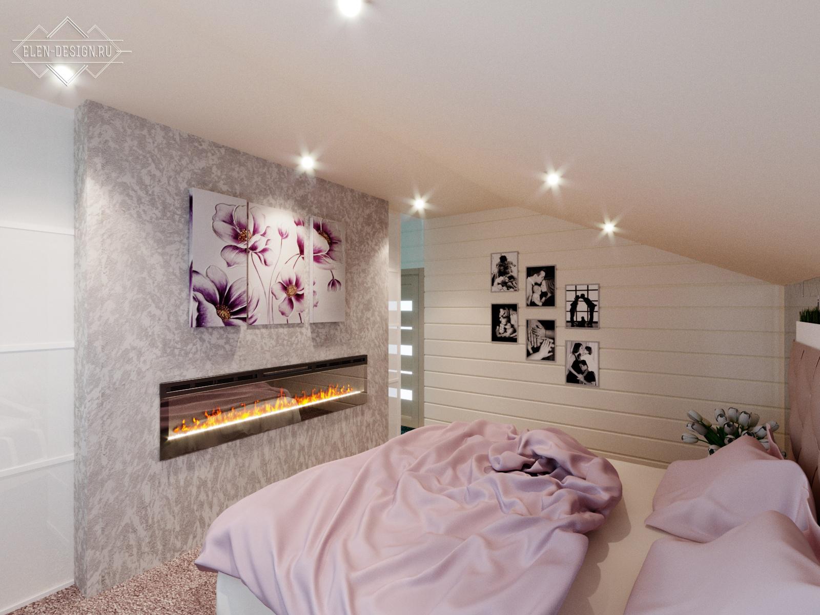 камин в спальне. Дизайн-проект Елены Андреевой